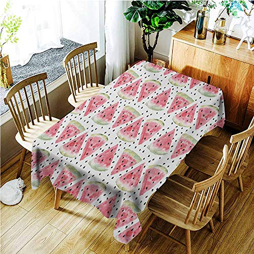 Washable Tablecloth,Watercolor Pattern of Sweet Juicy Pieces Watermelon with Seed Tropical Summer,High-end Durable Creative Home,W60X90L,Coral Pale Green Black