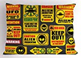 Lunarable Outer Space Pillow Sham, Warning Ufo Signs with Alien Faces Heads Galactic Theme Paranormal Activity Design, Decorative Standard Queen Size Printed Pillowcase, 30 X 20 Inches, Yellow