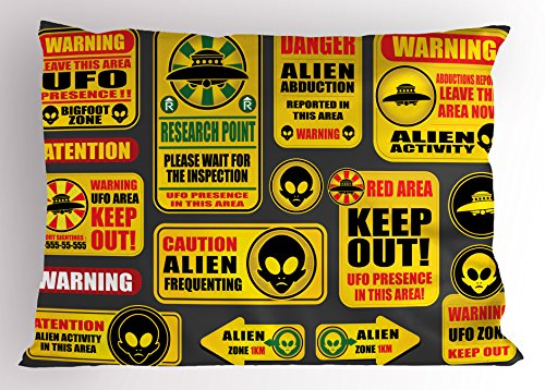 Lunarable Outer Space Pillow Sham, Warning Ufo Signs with Alien Faces Heads Galactic Theme Paranormal Activity Design, Decorative Standard Queen Size Printed Pillowcase, 30 X 20 Inches, Yellow by Lunarable
