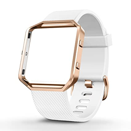 umtele silicone replacement band with rose gold frame for fitbit blaze smart fitness watch small