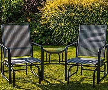 Garden Mile Outdoor 2 Seater Grey Garden Glider Love Seat With