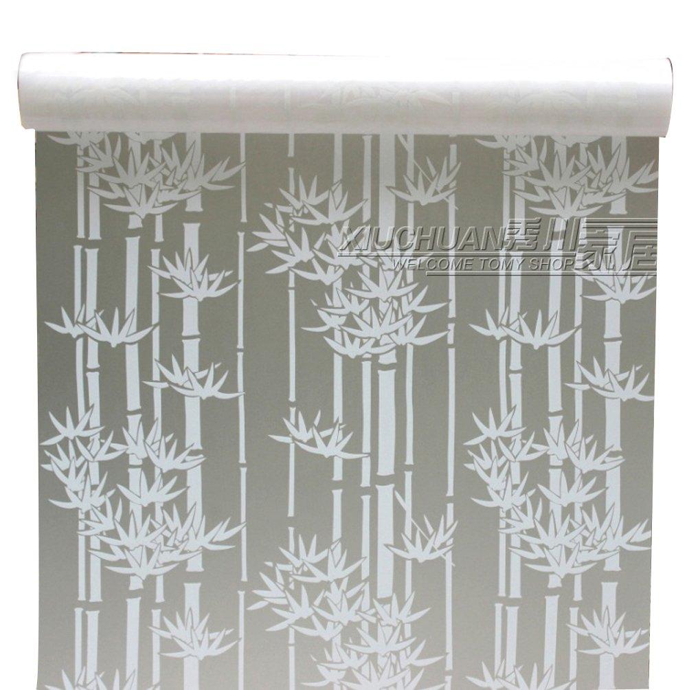 90 x 200 cmつや消しプライバシーガラスフィルム静的with接着剤による粘着ウィンドウフィルムホワイト竹Frostedステンドグラスステッカー B0747R3K2X