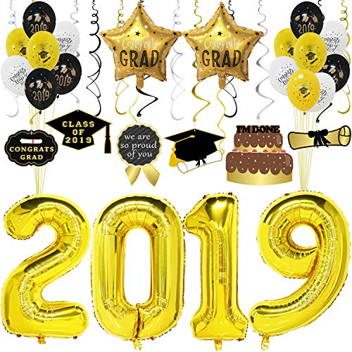 (2019 Gold Balloons Decorations for Graduation Party, Pack of 33pcs - Includes 40inch 2019 Number Balloons, Graduation Hanging Swirl, Gold Star Balloons Mylar, Latex Graduation Balloons)