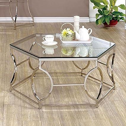 Merveilleux Martello Contemporary Chrome Glass Top Hexagon Sleek, Entrancing And Stylish  Coffee Table