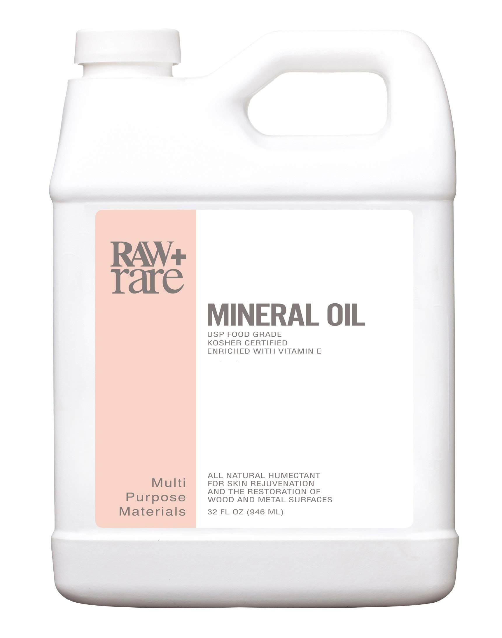 Mineral Oil 32 oz, Food Grade Safe Wood/Bamboo Oil, Cutting Board, Butcher Block Conditioner, Knife Blade, Cast Iron Tools, Pans For Food Kitchen, Vegan, Laxative by Raw Plus by Raw Plus Rare