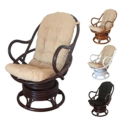 Rattan Swivel Rocking Chair David With Cushion (Dark Brown   Beige Cushion)