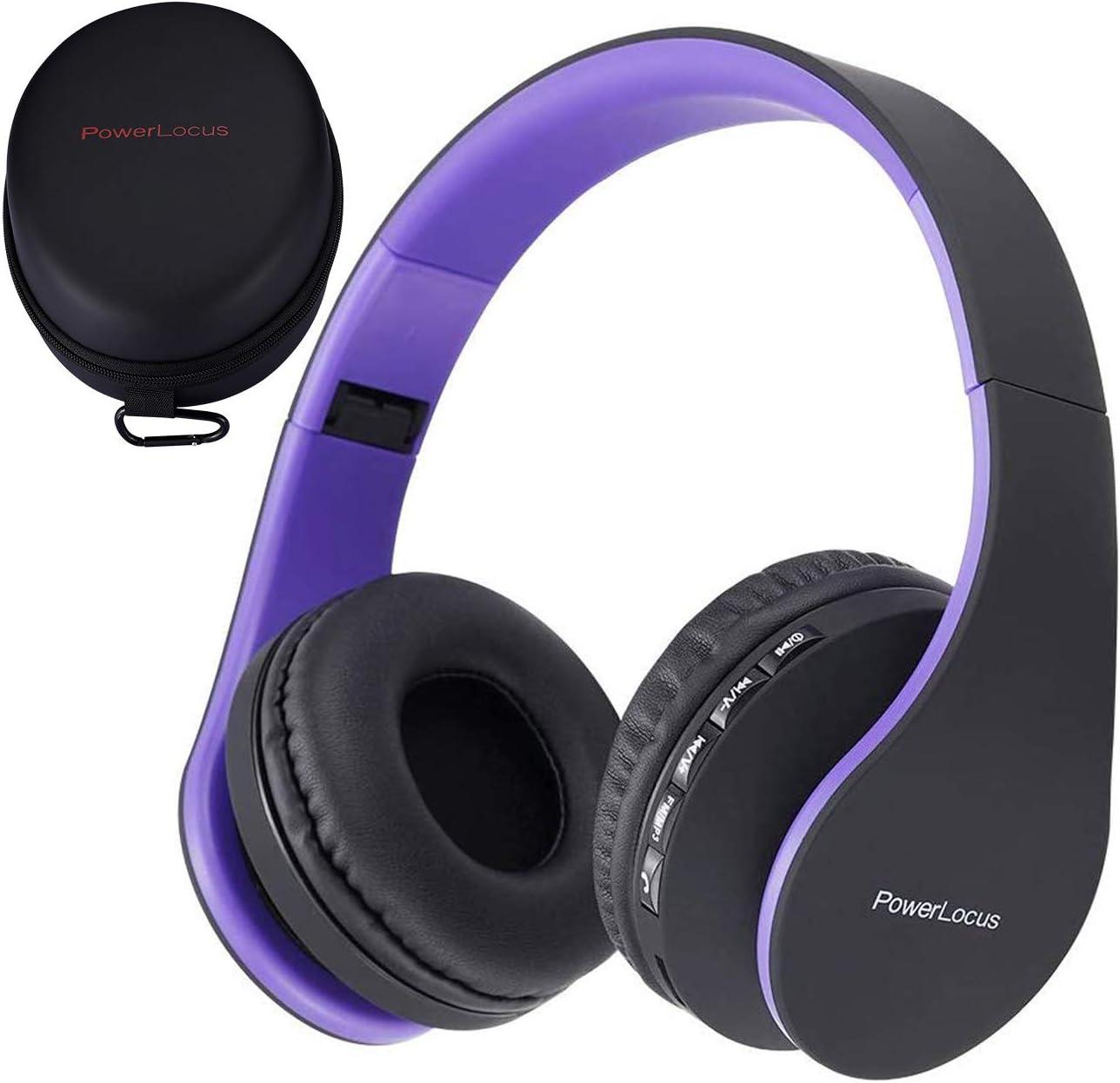PowerLocus P1 – Auriculares Bluetooth inalambricos de Diadema Cascos Plegables, Casco Bluetooth con Sonido Estéreo con Conexión a Bluetooth Inalámbrico y Audio Cable para Movil, PC, Tablet (Morado)