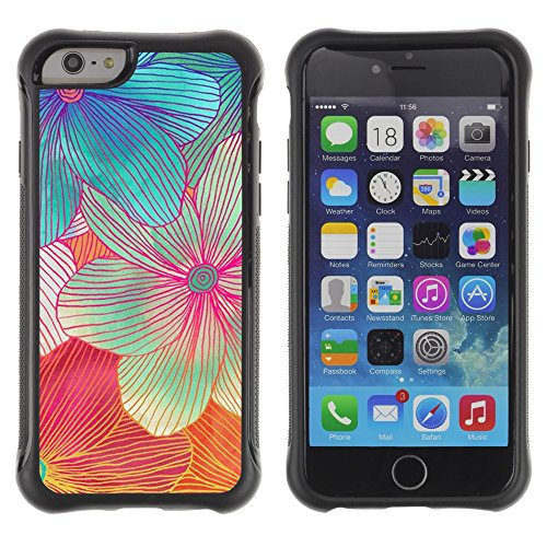 All-Round Hybrid Rubber Case Hard Cover Protective Accessory Compatible with Apple IPhone 6 (4.7'') - Handmade Flower art colorful sweet
