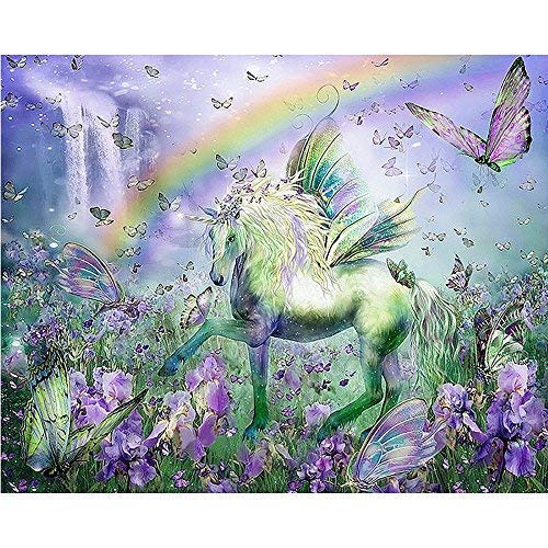 zhui star DIY Full Drill Round Diamond Painting Cross Stitch Kits for Adults Unicorn and Butterfly Home Decoration 30x40CM