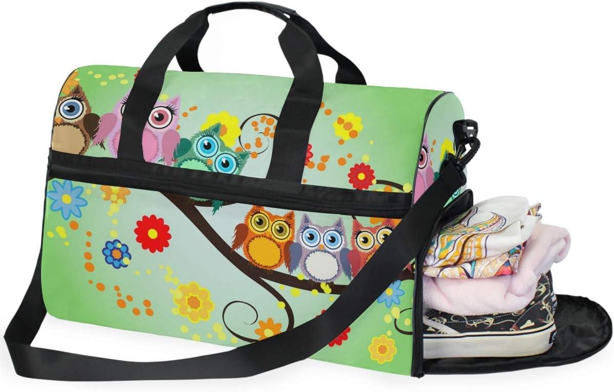 TFONE Colorful Cute Bird Duffel Bag Sports Gym Weekend Bags with Shoe Compartmen