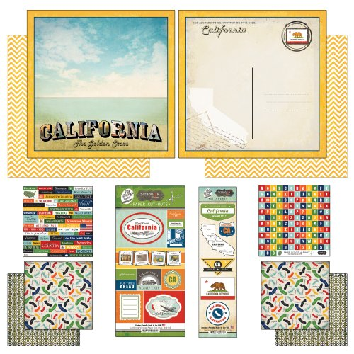 Scrapbook Customs Themed Paper and Stickers Scrapbook Kit, California Vintage ()