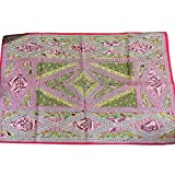 Mogulinterior Moroccan Tapestry Pink Embroidered Patchwork Vintage Wall Hanging Table Throw
