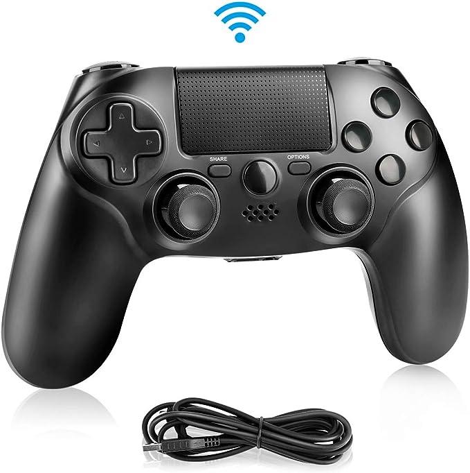 Achort Manette pour PS4, Bluetooth Vibration Manette de Jeu avec USB Rechargeable, Contrôleur de Jeu sans Fil Wireless Gamepad pour Playstation 4/PS4 Slim/PS4 Pro/PS3/PC(Windows 7/8 / 10)- Noir