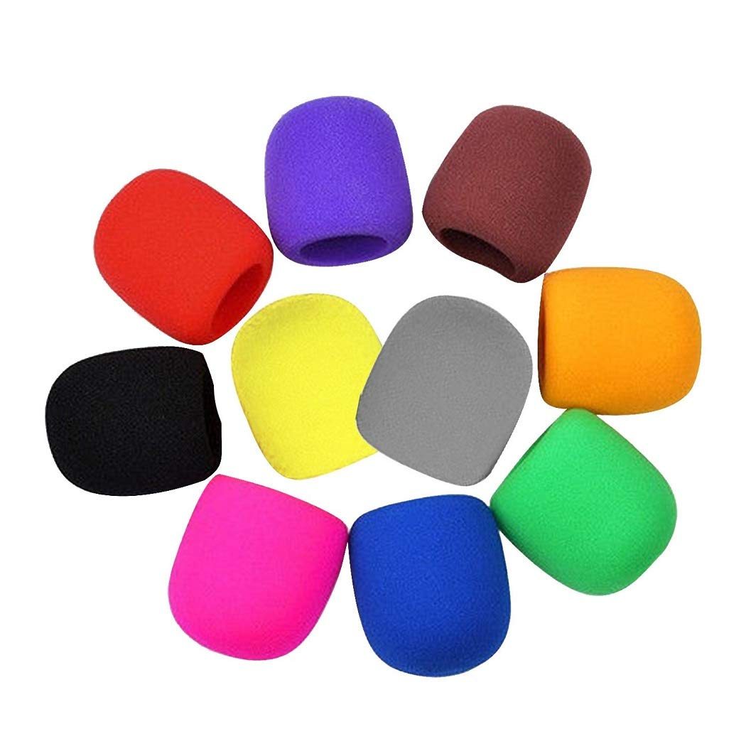 10 Pcs Handheld Stage Microphone Windscreen Foam Mic Cover Protection Sponge Foam Cover Shield