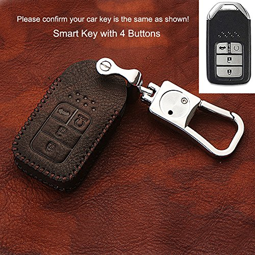 d0719b4a43050 HIGH FLYING Leather Key Shell Case Key Fob Case Cover with a Key Chain For  Honda Crosstour 2012-2015, FIT JAZZ 2014-2017, Odyssey Elysion 2015 2016 ...