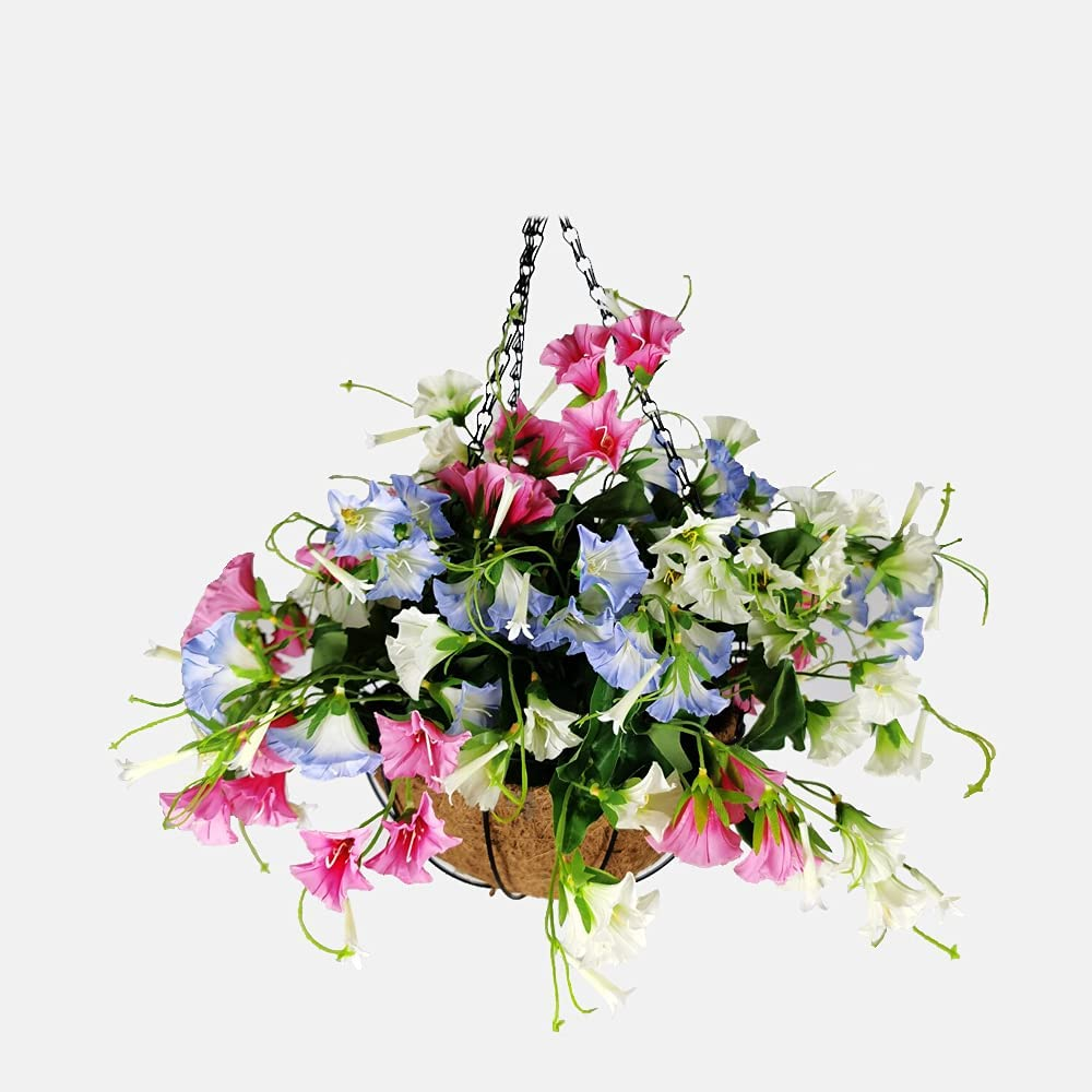 Huhu Ma Artificial Decorative Flower with Hanging Basket, Artificial Morning Glory, for Home Courtyard Balcony Porch Wedding Party Festival Decor