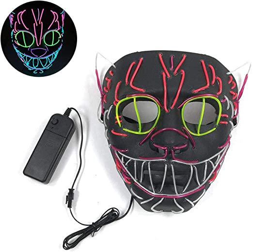 WINBST Máscara LED con 3 Modos de Flash para Halloween Carnaval ...