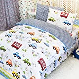 MakeTop Cars Trucks Buses House Pattern White Background Kids Boys Bedding Set (Twin, 3pc without comforter)