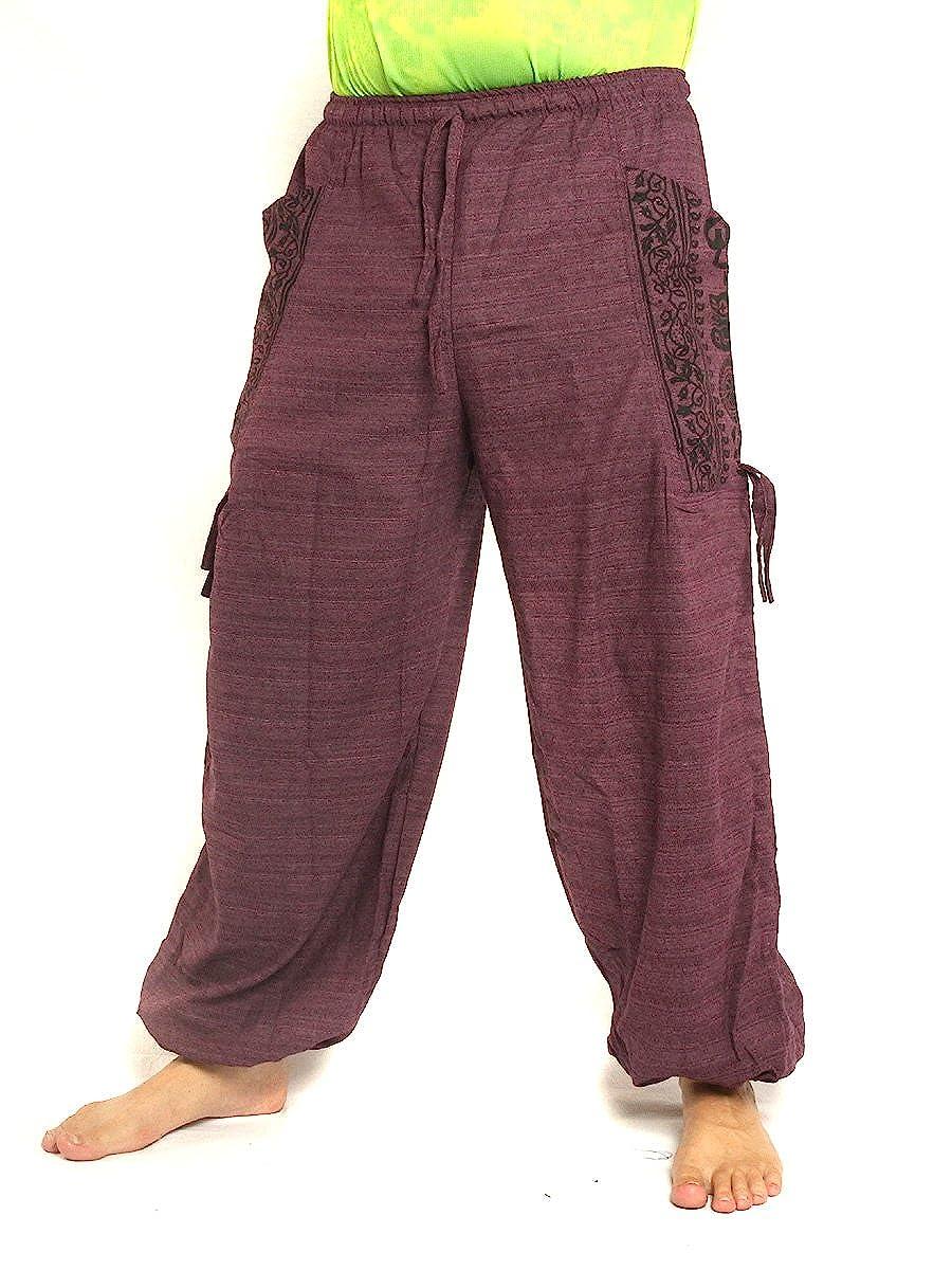jing shop High Cut Harem Pants Boho Hippie Floral Pattern Print Cotton Mix with Large Side Pockets