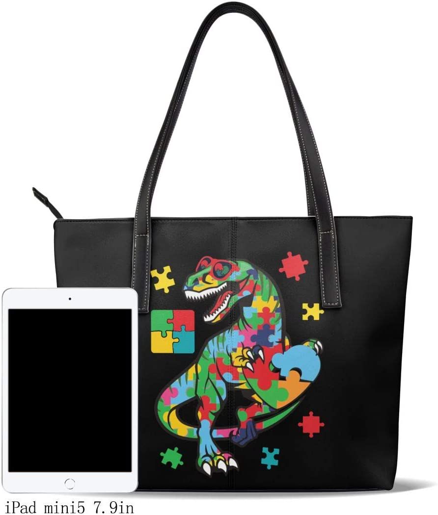 WAY.MAY Autism Awareness Dinosaur Puzzle Piece Leather Tote Bags Zippered Handbags Shoulder Bag