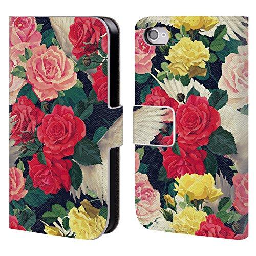 Officiel Mark Ashkenazi Fleurs Et Ailes Fleurs Étui Coque De Livre En Cuir Pour Apple iPhone 4 / 4S