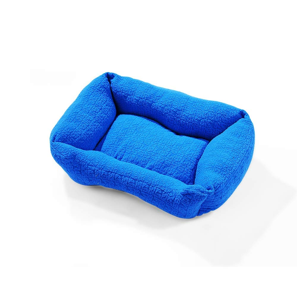 bluee1 MediumYQQ Teddy Kennel Pet Bed Cat Nest Winter Resistant Bite Keep Warm Comfortable (color   bluee2, Size   L)