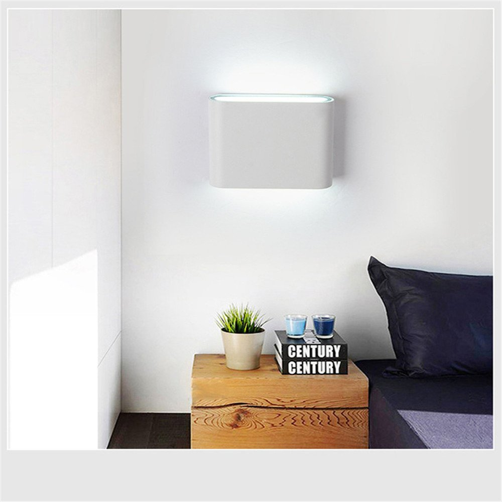 Wall Mounted Lamp, Wall Sconces, Alotm Modern Aluminum12w LED IP65 Waterproof Outdoor Night Lights Garden Lights Corridor Wall Lamp Home Hotel Lights, Up and Down (White Body-Cool White Light6500K)