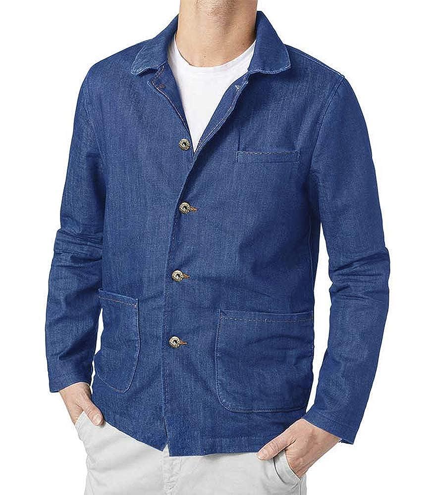 COOFANDY Men's Denim Blazer Jacket Classic Fit Casual Blue Lightweight Jean Jacket JL18100801