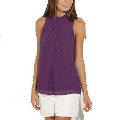 promo code 4f7c0 12807 ASCHOEN Damen Shirt Ärmellos Oberteil Elegant Tank Tops T-Shirt Casual  Bluse Chiffon