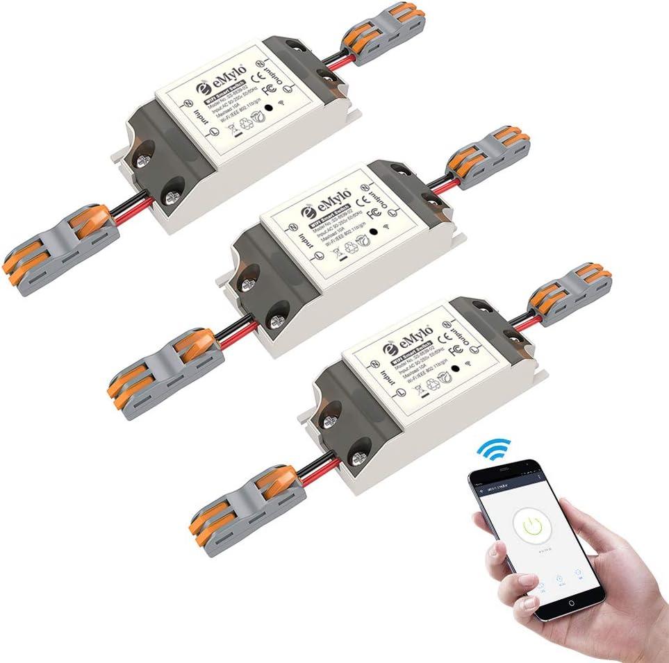Smart WiFi Switchs Wireless Relay Control remoto eMylo Light Switch Module Temporizador de salida de Smart Home Automation Compatible con Alexa, Google Home a través de iPhone Android 3 paquetes