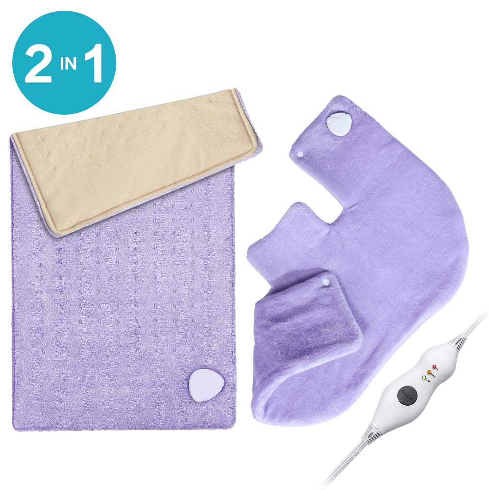 "Heating Pad Gift Set of 2 - King Size 18"" x 25"" Shoulder Heating Pad and 12"" x 24"" Fast Heating Wrap with Auto Shut Off for Back, Neck and Shoulder, Abdomen, Waist Pain Relief, Dry/Moist Option"