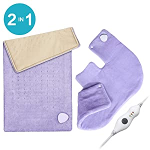 """Heating Pad Gift Set of 2 - King Size 18"""" x 25"""" Shoulder Heating Pad and 12"""" x 24"""" Fast Heating Wrap with Auto Shut Off for Back, Neck and Shoulder, Abdomen, Waist Pain Relief, Dry/Moist Option"""