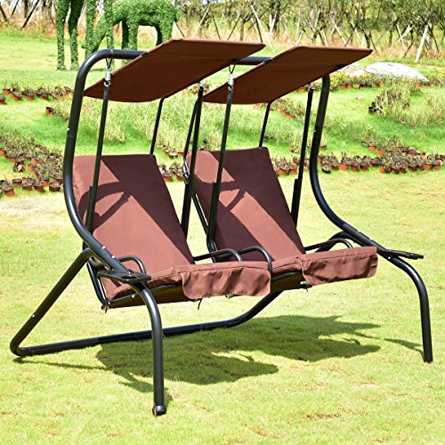 Tangkula 2 Person Patio Swing Outdoor Steel Frame Loveseat Swing Hammock Glider (Coffee)
