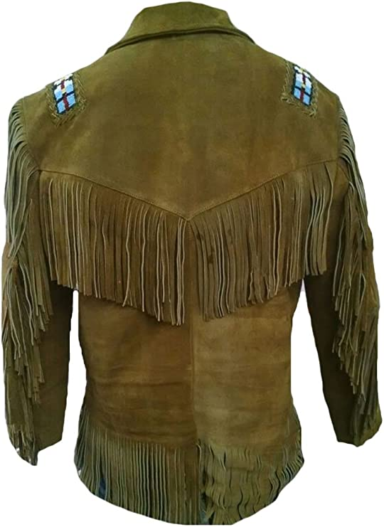 Classyak Camisa vaquera occidental con flecos y cuentas de ante marrón para hombre