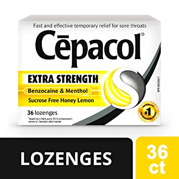 Cepacol Extra Strength Sucrose Free Oral Sore Throat/Cough Lozenges Honey  Lemon, 36 Count