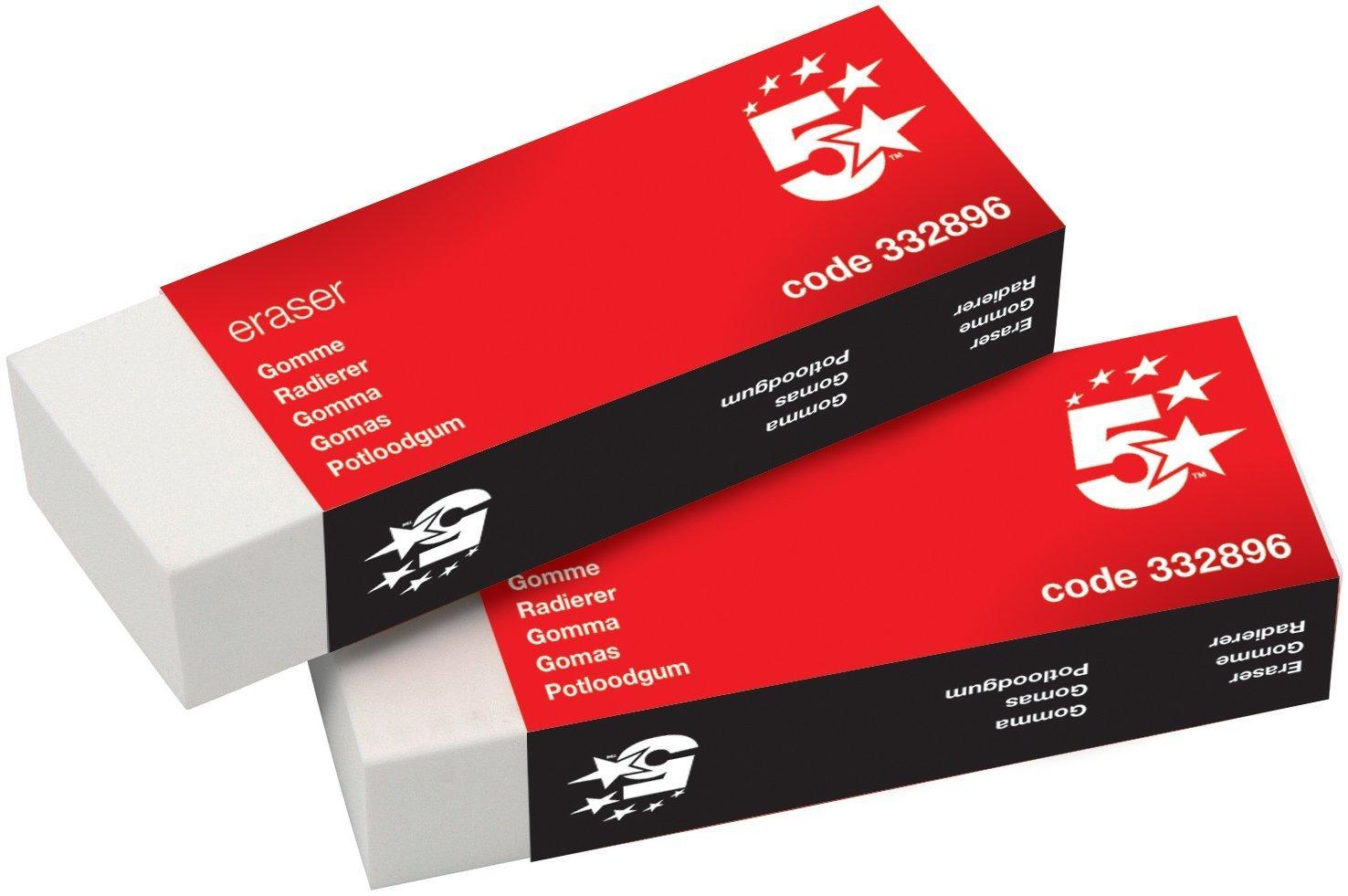5 Star Office Plastic Eraser Paper-sleeved 60x21x12mm [Pack 10] Spicers Ltd 332896