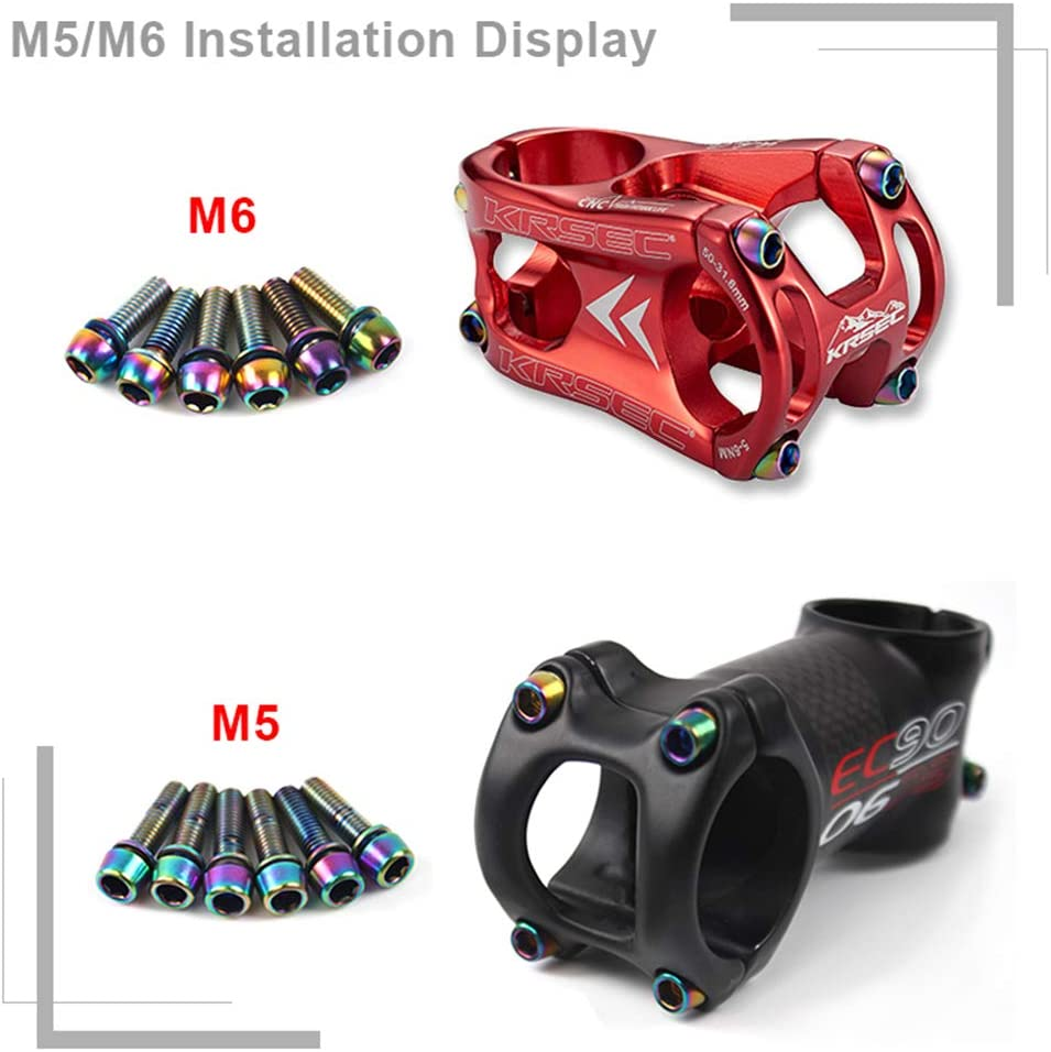 6pcs Box M5//M6 Mountain Road Bike Stainless Steel  Stem Screws Rainbow//Gold
