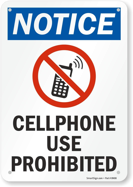 Amazon.com: Aviso – Teléfono móvil de uso prohibido (con ...