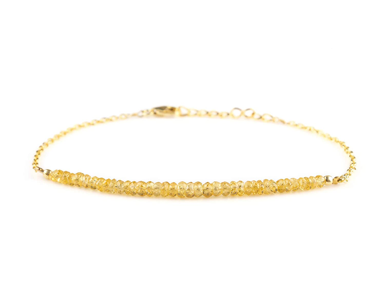 November Birthstone Christmas Gift Handmade Jewelry eValuesell Yellow Sapphire Bracelet in Sterling Silver Chain 8