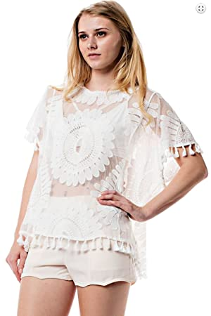 Upparel Women's Crochet Lace T Shirt Floral Top Women Blouse Sheer Embroidery (Medium / Large , OFF White )