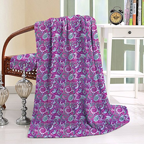 HAIXIA Blanket Spiral Structure with Curves and Swirls Surreal Inspirations Sea Green Magenta Purple (Spongebob Sea Adventure Bedding)