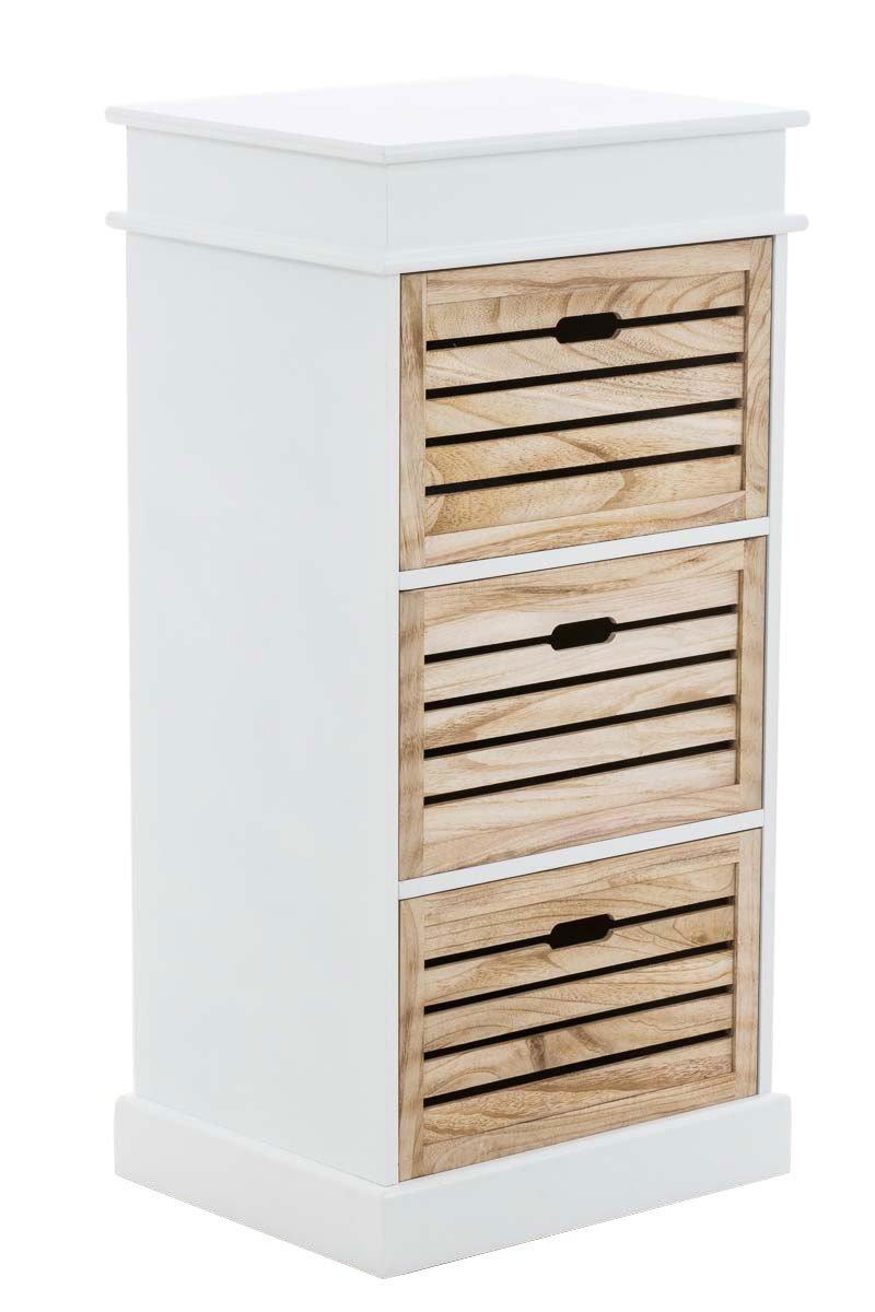 CLP Commode - tiroirs ELENA en bois - style maison de campagne - 3 tiroirs - 50 x 40 cm - hauteur environ 100 cm - blanche