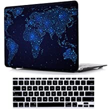 May Chen Macbook Pro 13 Case with Touch bar 2017 & 2016 Release A1706, Plastic Pattern Hard Case Shell with Keyboard Cover for Newest Macbook Pro 13 Inch, World map