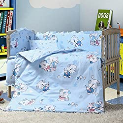 Baby Boy's Crib Bedding Set,7 Pieces Blue Dog Bedding Sets for Kids
