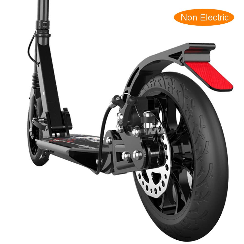 LXLA - Folding Adult Kick Scooter with Disc Handbrake, Big Wheels Dual Suspension Commuter Scooter, Adjustable Height, Supports 220lbs by LXLA - Adult Kick Scooter
