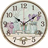 HI GIRL Wood Wall Clock, 12 inches Retro Style Non Ticking Silent Quartz Decorative Wall Clock for Room and Kitchen