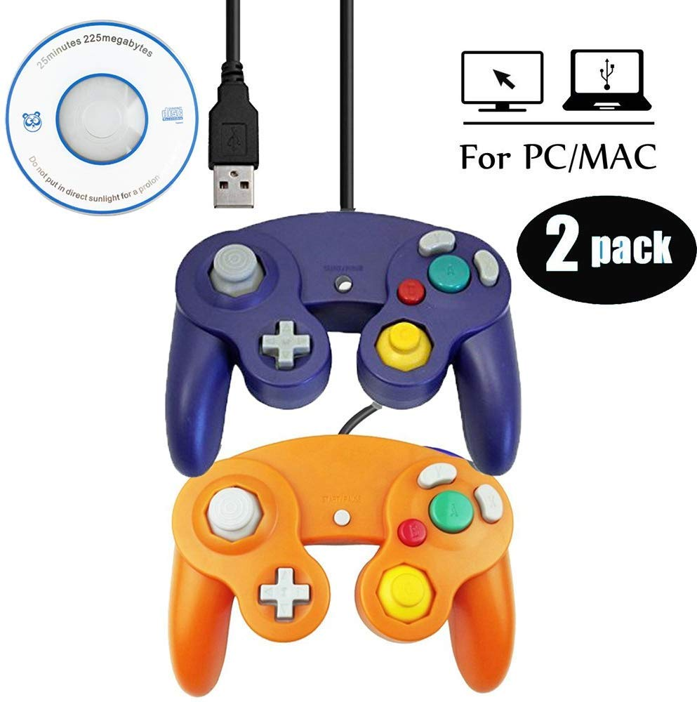 Mekela 2 Packs 5.8 feet Classic USB Wired NGC Controller Gamepad resembles Gamecube for Windows PC MAC (USB Purple and Orange)