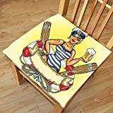 pin up car seat covers - Nalahome Set of 2 Waterproof Cozy Seat Protector Cushion Girly Decor Pin-Up Sexy Sailor Girl in Lifebuoy with Captain Hat and Costume Glass of Beer Feminine Design Multi Printing Size 20x20inch