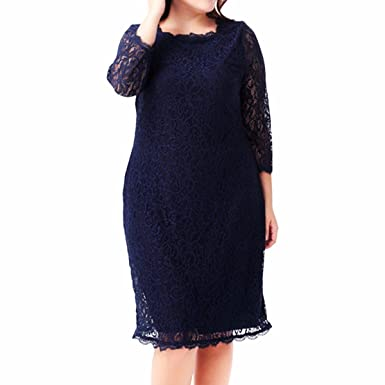 Samtree Womens Plus Size 3/4 Sleeves Cocktail Party Floral Lace Sheath Dress(UK