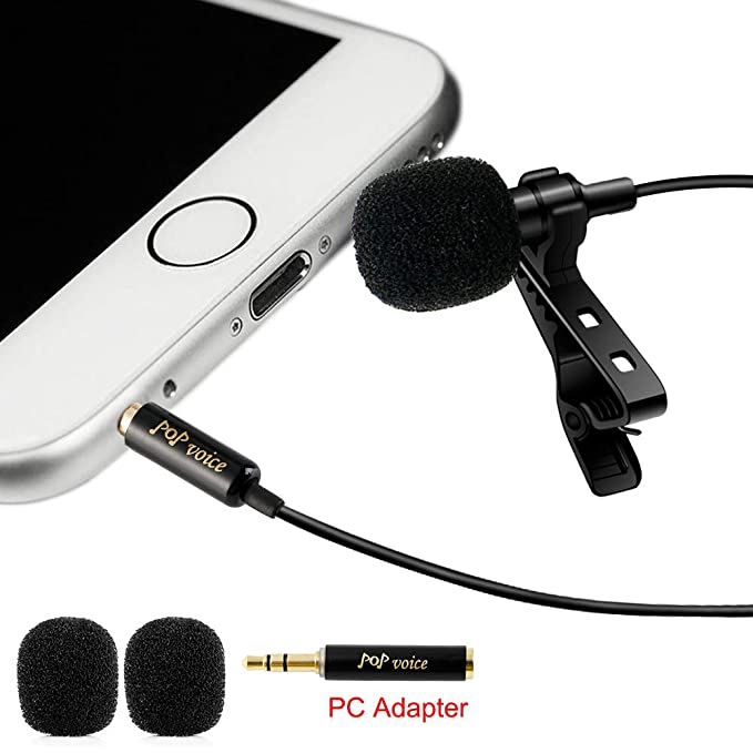 Professional #1 Best Lavalier Lapel Microphone Omnidirectional Condenser Mic For Apple I Phone Android & Windows Smartphones,Youtube,Interview,Studio,Video Recording,Noise Cancelling Mic by Po P Voice